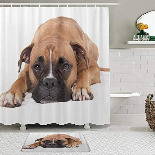VAMIX 2 Piece Shower Curtain Set with Bath Mat,Lovely Boxer Dog,Polyester Fabric Waterproof Shower crutains Non-Slip Rugs Bathroom Decor Accessories with 12 Hooks Included