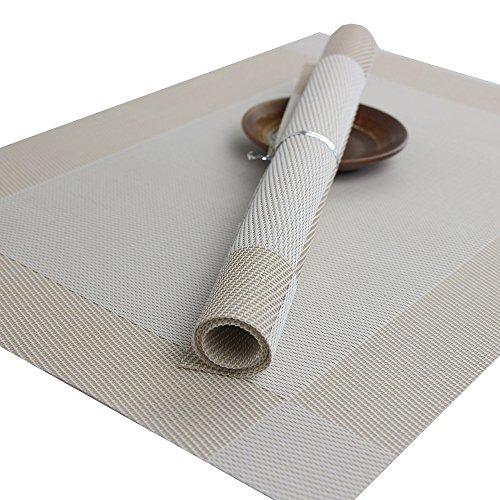 Anam tovagliette all'americana in materiale isolante antiscivolo impermeabile resistente adiabatico lavabile, confezione da 10 White