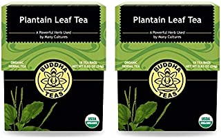 Buddha Teas Natural Plantain Leaf Tea (Pack of 2) With Vitamin C, Flavonoids and Phenolic Acids, 18 Count Each