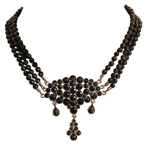 Antikschmuck Replikat Colllier - schwarze Perle Kette - Biedermeier Stil - Gothi Halloween