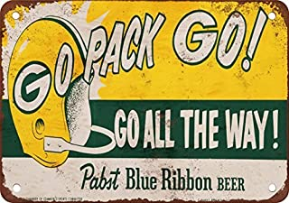 Bruyu5se Metal Sign, Tin Sign, 1961 Packers and Pabst Blue Ribbon Beer Vintage Look Reproduction Metal Tin Sign 7X10 Inches