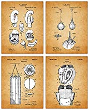 Vintage Boxing Wall Decor Patent Prints - Set of 4 8x10 Unframed Boxing Posters for Boys Bedroom, Office, Man Cave - Boxing Room Decor Gift Idea for Boxers and Sports Fan