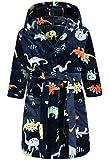 Lodunsyr Albornoces Niña Niño Pijamas y Batas Infantil Textiles de Baño Muchacha Albornoz con Capucha Batas Regalos Suave Ropa de Dormir Negro Dinosaurio 2-9 Años