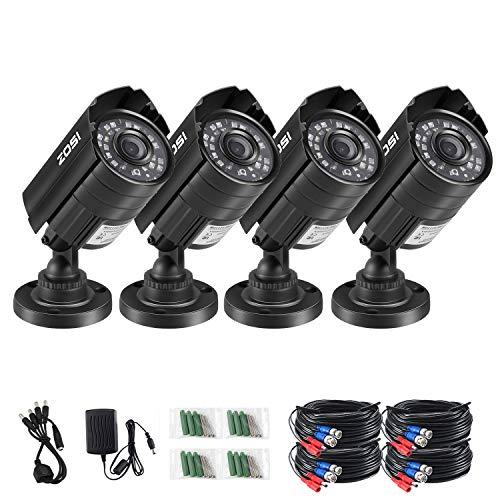 ZOSI 4PK 1920TVL 1080P Security Camera 3.6mm Lens 24 IR-LEDs 2.0MPCCTV Camera Home Security Day/Night Waterproof Camera for 720P/1080N/1080P/5MP/4K Analog DVR Systems