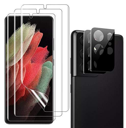 TOPACE Schutzfolie kompatibel mit Samsung Galaxy S21 Ultra Schutzfolie(3)+Kamera Panzerglas(2), Display und Kamera schützen, Fingerabdruck-ID unterstützen Folie, HD Klar Weich TPU Displayschutzfolie
