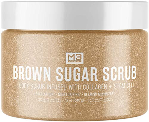 M3 Naturals Brown Sugar Body Scrub Infused with Collagen & Stem Cell - Best Exfoliating Body & Face Scrub for Acne Scars, Cellulite, Stretch Marks for Men and Women 12oz
