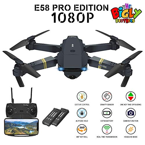 E58 PRO Edition 1080p Drone with Camera 120 Wide Angle, Gesture Control, Altitude Hold, 1 Key Takeoff Landing, 1 Key 360 flip - Extra 600mAh Battery