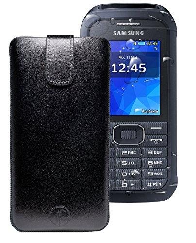 Favory ® Etui Tasche für / Samsung Xcover 550 (SM-B550H) / Leder Handytasche Ledertasche Schutzhülle Hülle Hülle *Lasche mit Rückzugfunktion* schwarz