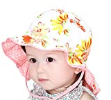GZMM Baby Girls Reversible Wide Brim Sun Protection Hat with Neck Flap