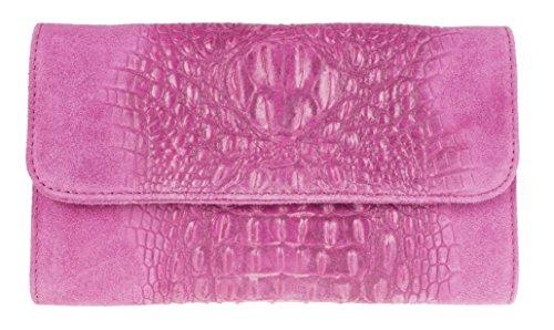 Girly Handbags Croc italiana gamuza cuero bolsa de embrague - fucsia