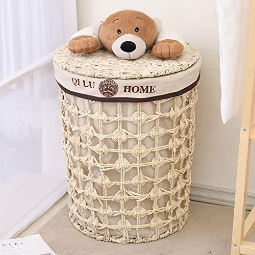 GSHWJS Cesto de Mimbre Cesta de Paja Cesta de lavandería con Tapa Cesta de lavandería Ropa Interior Ropa de Juguete Cubo de Almacenamiento Cesta de lavandería Cesto de la Ropa (Size : Large)