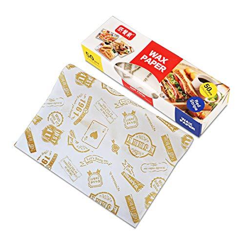 50 Blatt Wachspapier, fettdichtes Papier, wasserdicht, Lebensmittelverpackung, Tissue für Brot, Sandwich, Burger, Pommes (Stempel)