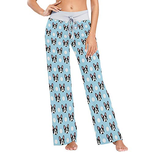 XUWU French Bulldog Print Women Pajama Pants Sleepwear Comfy Casual Palazzo Lounge Pants Wide Leg