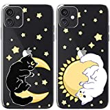 Mertak TPU Couple Cases Compatible with iPhone 12 Pro Max Mini 11 SE Xs Xr 8 Plus 7 6s Cute Matching Stars Protective Cats Lightweight Slim Silicone Girlfriend Flexible Celestial Moon Sun Luna Cover