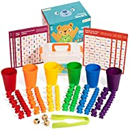 Rainbow Counting Bears for Toddlers With Matching Sorting Cups For Ages 3 And Up- Sorting Bears Game- 30 Large and 60 Small Teddy Bear Counters with Activity Cards- Fun And Learning For All Abilities