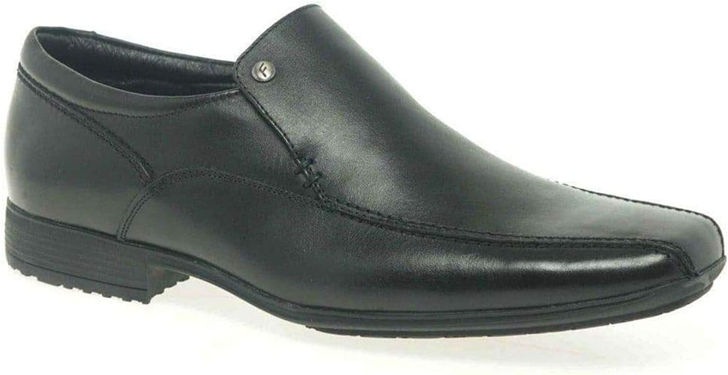Belmont Mens Smart Leather Slip On shoes Black Leather 9   43
