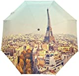 AOTISO Stadtbild Paris Eiffelturm Vintage tragbar Winddicht Regenschutz Sonnenschutz 3 Falten Auto...