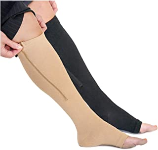 Wide Calf Zippered Compression Socks with Open Toe - 20-30mmHg - Best Leg Support Stocking (5XL - Calf 21-23in, Beige)