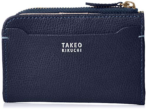 [タケオキクチ] 財布 メンズ キーケース ファスナー小銭入れ 二つ折り カード収納 キーリング付 キャーロ ネイビー