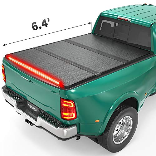 oEdRo Hard Folding Tonneau Cover with Built-in Light Strip, Trifold Hardtop Truck Bed Cover Compatible with 2002-2021 Dodge Ram 1500 Classic 03-20 Ram 2500 3500 Without Rambox, Fleetside 6.4ft Bed