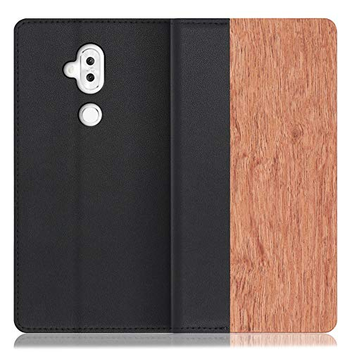 LOOF Nature ZenFone 5Q / ZC600KL ケース 手帳型 カバー 本革 天然木 ベルト無し ウッド 木製 木 カード収納 カードポケット 本革 高級 スタンド機能 手帳型ケース スマホケース (花梨)
