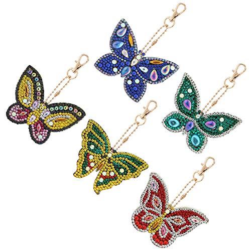 MWOOT 5 Pezzi DIY Farfalla Pittura Diamante Portachiavi, 5D Diamond Art Painting Keychain Portachiavi per Quadro Mosaico Creazione di Kit Decorativi Pendente per Artigianato