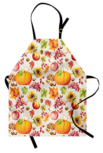 Lunarable Thanksgiving Apron, Fruits and Vegetables Pumpkin Apples Grape with Autumn Leaves in Watercolors, Unisex Kitchen Bib with Adjustable Neck for Cooking Gardening, Adult Size, Orange