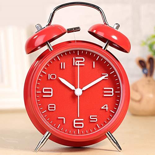Ouzhoub Digitaler Reisewecker, 4-Zoll-Weinlese Laute Glocke Wecker Tinkerbell Wecker mit Hintergrundbeleuchtung for Schlafzimmer Tabellen-Ausgangsdekoration Fahralarm Mini Clock (Color : Red)