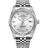 BUREI Men's Automatic Watches Silver Mechanical Wrist Watch Date Display with Sapphire Crystal Rhinestone Markers Stainless Steel 38mm Watch for Men
