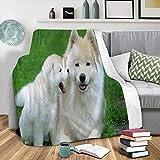 Manta de Franela súper Suave Impresa en 3D Perro Blanco De Césped - Microfibra Manta de Mullida CáLida - Adecuada para Viaje el Sofá Cama de la Oficina Mantas Súper Suave 150x200 cm
