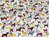 Minerva Crafts Stoff mit Hundemotiv, weich, Baumwolle,