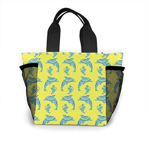 N/A Jongens Meisjes Geïsoleerde Neopreen Lunch Bag - Cartoon Dolfijn Zee Leeuw Handtas Lunchbox Voedsel Container Pouch Voor School Werk Kantoor