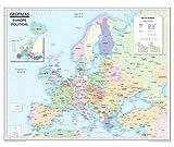 Mapa de Europa para niños, mapa de pared laminado político/físico reversible