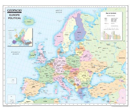 a de Europa para niños – Reversible político/físico laminado mapa de pared, ZMFP147