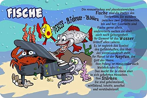 Metalen bord 30 x 20 cm sterrenbeeld vis humor spreuk metalen bord