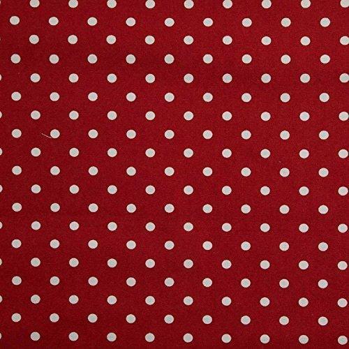 Homescapes – Tissu en Pur Coton – À Pois – Rouge – 150 cm Largeur – Imprimé - Approprié pour la Fabrication des Rideaux et des Tapis et Tissus d'Ameublement