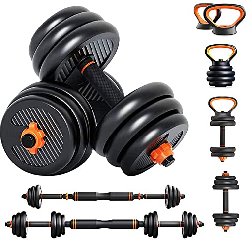 Dripex Adjustable Dumbbell Set with Barbell Kettlebell, 6 in 1 Free Weight Set for Men/Women,Weight Bodybuilding at Home,Gym,Office Training Dumbbell Equipment,with Steel Connecting Bar (20kg)