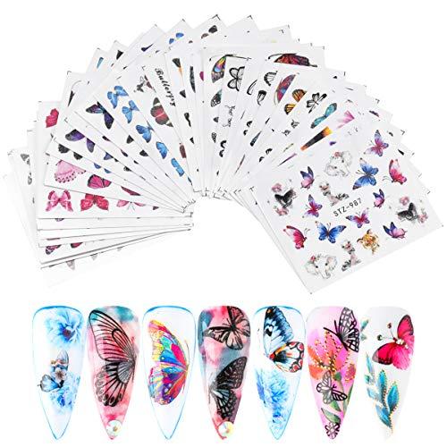 Jinlaili Pegatinas de Uñas Mariposa, 30 Hojas Pegatinas de Uñas Al Agua, Calcomanías de Pegatinas Uñas Gel, Decoración de Uñas Lámina para Mujeres Niñas Nail Art Stickers