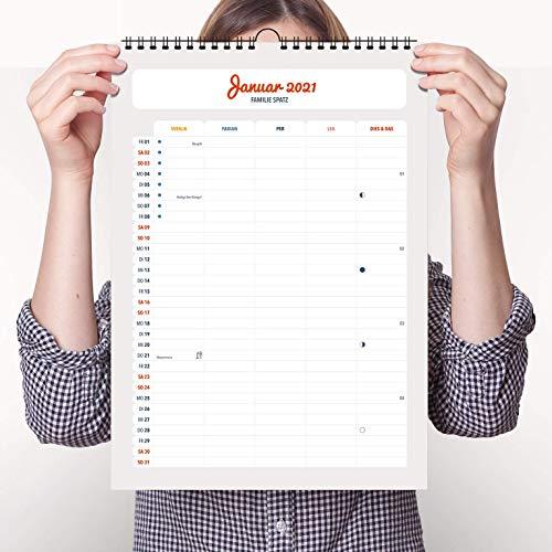 Wandkalender NewModern mit Namen für 2021 - Idealer Familienkalender als Terminplaner im A3 Format (ca. 30x44cm) von heaven+paper® | Individuell personalisierbar | Startmonat frei wählbar