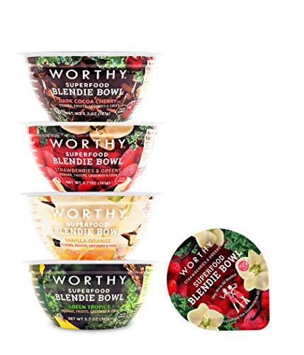 WORTHY Superfood Blendie Bowls (4 Flavor Variety) 4 Pack | 100% Vegan Fruit and Veggie Blended Snack Bowls | 8g protein, 8g fiber, Vegan, Non GMO | 5.7 oz. cups