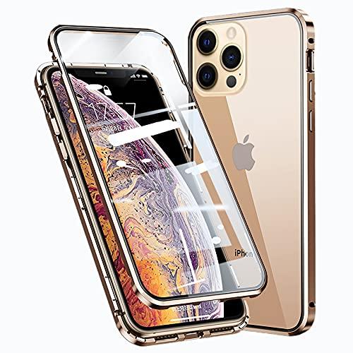 Funda para iPhone 12 Pro MAX Magnética Carcasa,iPhone 12 Pro MAX Funda Protectora de Cuerpo Completo 360° Cristal Templado Cover con Protector de Pantalla,Antigolpes Rugged Metal Bumper Case,Dorado