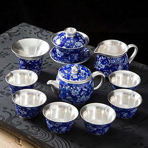 TOSISZ handmatig blauw en wit porselein verzilverd soepkan theepot Kung voor theebeker koffiebeker gastgeschenk