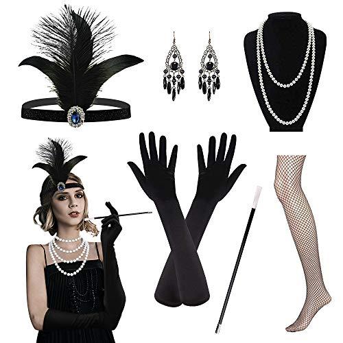 Riclahor 20er Jahre Kleid Accessoires Audrey Hepburn Kostüm Damen Flapper Kleid Retro Stil, Charlston Kostüme Damen, Kopfschmuck Ohrringe Perlen Halskette Handschuhe Strümpfe, Ideal für Partys