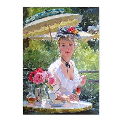 ZQXXX Konstantin Razumov 《Dama de moda con vino tinto》 Pintura en lienzo Obra de arte Póster Imagen Decoración del hogar -60x80cm Sin marco