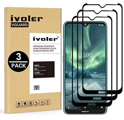 VGUARD 3 Stücke Panzerglas Schutzfolie für Nokia 6.2 / Nokia 7.2, [Volle Bedeckung] Panzerglasfolie Folie Hartglas Gehärtetem Glas BildschirmPanzerglas für Nokia 6.2 / Nokia 7.2
