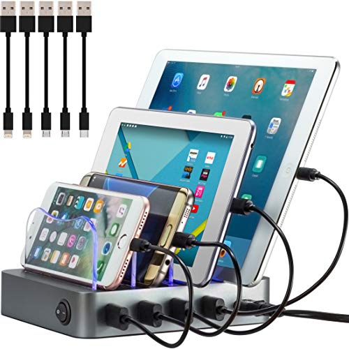 Simicore Charging Station for Multiple Devices, Certified 4 USB Fast Charging Dock, Non-Slip Surface, 5 Short Cables Included, Smart Phones, Tablets, Watch, Other Electronics Organizer, Space Gray