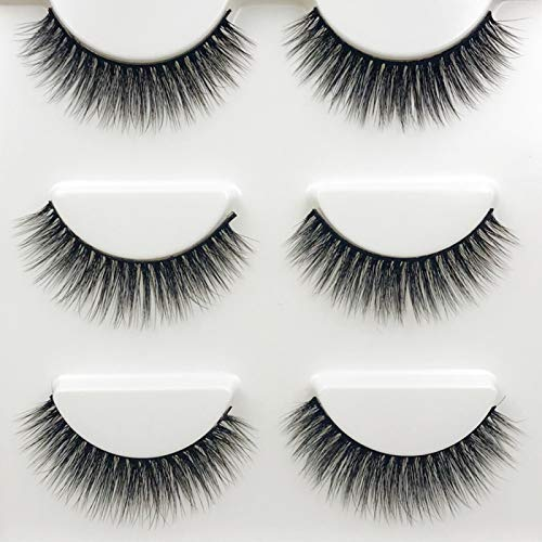 3 Pairs Mink Hair Imitation Thick Artificial Eyelashes Curly Long Extension Makeup