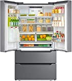 Smad Counterdepth French Door Refrigerator Bottom Freezer 36' Refrigerator Stainless Steel, 22.5 Cu.Ft, with Auto Ice Maker