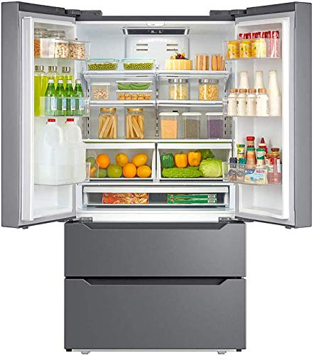 Smad Counterdepth French Door Refrigerator Bottom Freezer 36  Refrigerator Stainless Steel, 22.5 Cu.Ft, with Auto Ice Maker