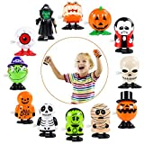 Halloween Wind Up Toys, 12 Pack Assorted Small Toys For Kids, Wind-Up Toy Assortments Clockwork Dozen Treat For Gift, Windup Toy Bulk For Party Favor Goody Bag Filler Preschool Christmas (Skull)